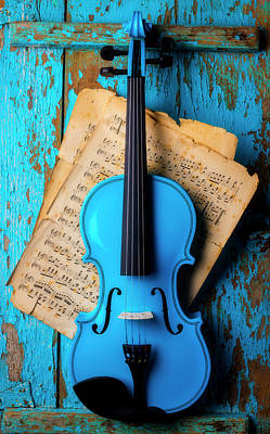 Photograph - Blue Violin On Blue Wall by Garry Gay
