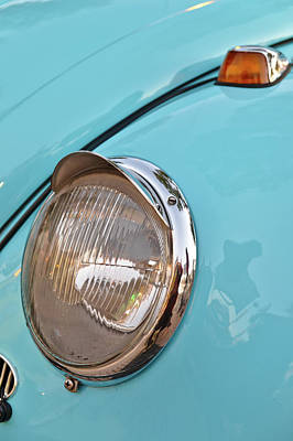 Photograph - Blue Volkswagen Beetle Front Light by Angelo DeVal