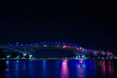 Photograph - Blue Water Bridge Night by Meta Gatschenberger