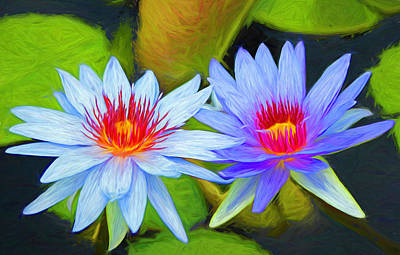 Monochrome Landscapes - Blue Water Lilies Painted by Judy Vincent