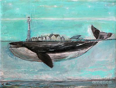 Painting - Blue Whale Village by Manami Lingerfelt