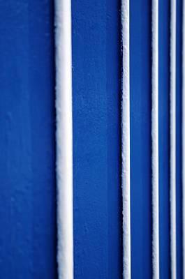 Digital Art - Blue white stripes by Neringa Barmute