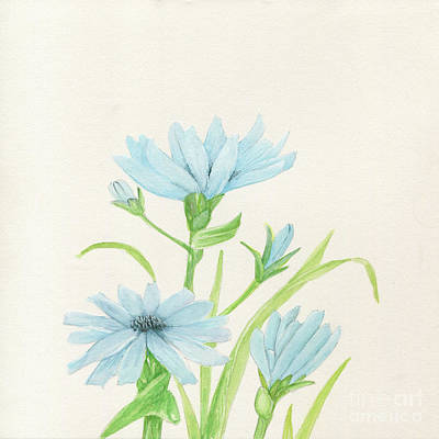 Blue Wildflowers Watercolor Art Print