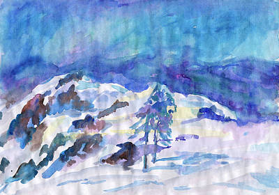 Painting - Blue Winter Landscape by Irina Dobrotsvet