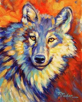 Wall Art - Painting -  Blue Wolf by Theresa Paden