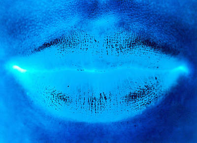 Close Up Photograph - Blue Womans Lips by Ade Groom