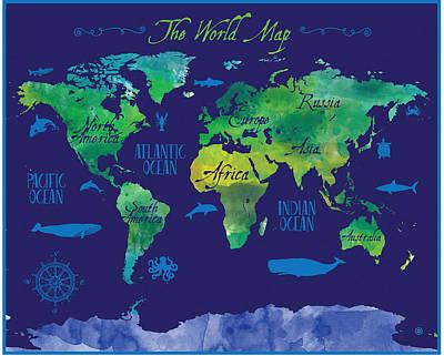 Digital Art - Blue World Map by Gary Grayson