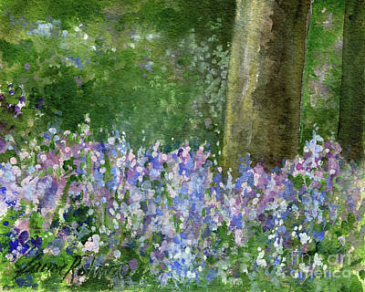 Painting - Bluebells Under The Trees by Laurie Rohner
