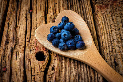 Photograph - Blueberries In Heart Shaped Spoon by Garry Gay