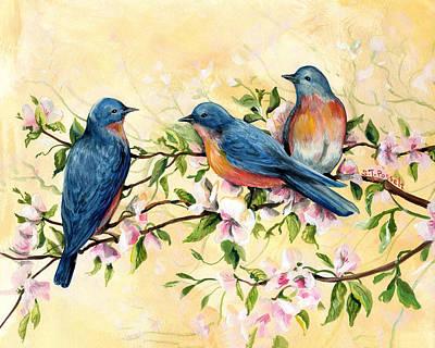 Painting - Bluebird Blossoms by Sheri Jo Posselt