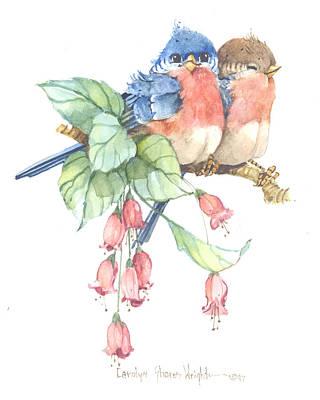 Wall Art - Painting - Bluebird Pair by Carolyn Shores Wright