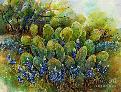 Royalty-Free and Rights-Managed Images - Bluebonnets and Cactus 2 by Hailey E Herrera