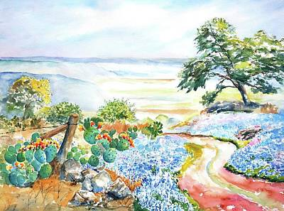 Painting - Bluebonnets - Texas Hill Country In Spring by CarlinArt Watercolor