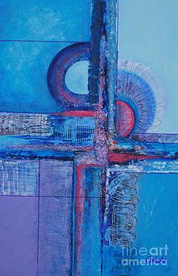 Painting - Blues With Purple Abstract by Jean Clarke