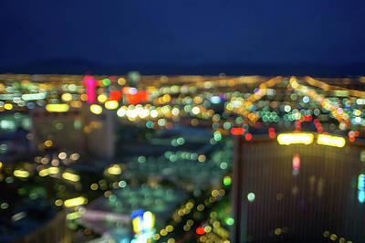 Photograph - Blurred Abstract Bokeh Las Vegas Nevada by Alex Grichenko