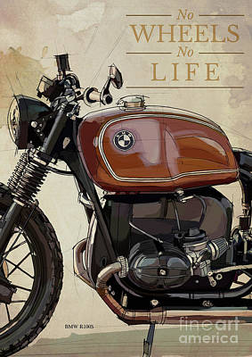 Target Threshold Nature - BMW R100S Original Art,Motorcycle quote,No wheels no life by Drawspots Illustrations
