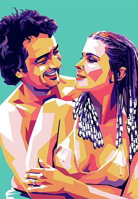 Colorful Button - Bo Derek and Dudley Moore by Stars on Art