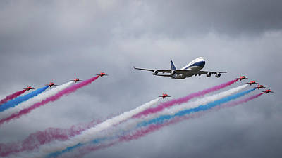 Pop Art Rights Managed Images - BOAC Boeing 747 and Red Arrows Royalty-Free Image by Airpower Art