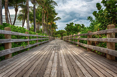 Photograph - Boardwalk In Miami Beach by Alison Frank