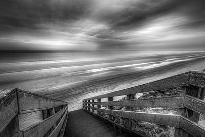 Photograph - Boardwalk Into Sunrise At Low Tide Black And White by Debra and Dave Vanderlaan