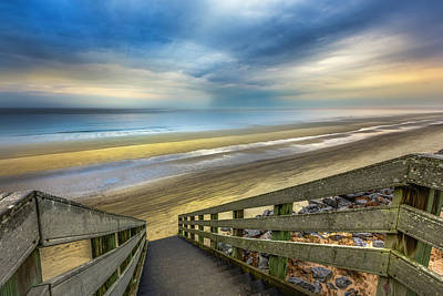 Photograph - Boardwalk Into Sunrise At Low Tide by Debra and Dave Vanderlaan