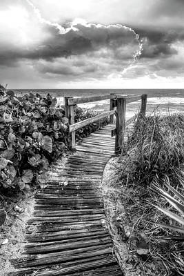 Photograph - Boardwalk To The Sea In Black And White by Debra and Dave Vanderlaan