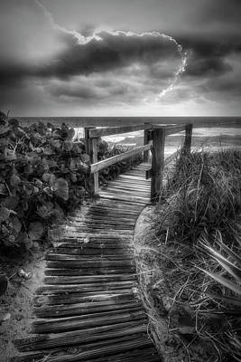 Photograph - Boardwalk To The Sea In Radiant Black And White by Debra and Dave Vanderlaan