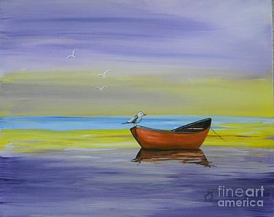 Painting - Boat And Seagull by Judy Horan