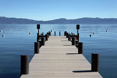 Symmetry Photograph - Boat Dock Pier Out To Lake Tahoe And by Jason Todd