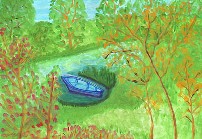 Painting - Boat In A Quiet Backwater by Dobrotsvet Art