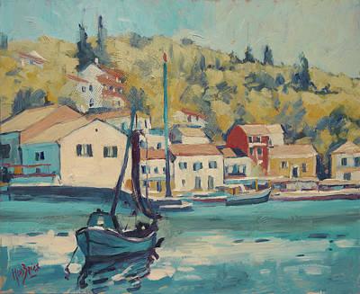 Painting - Boat Of Albert In Loggos Harbour by Nop Briex