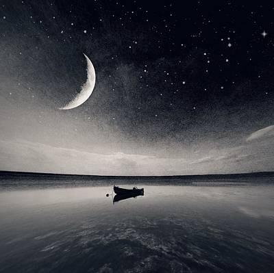 Boat On Lake At Night Art Print by Mateusz Sawicki / Eyeem