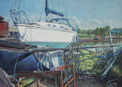 Painting - Boat Out Of Water With Dumped Parts At Marina by Martin Davey