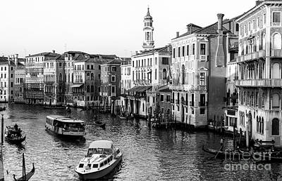 Photograph - Boat Traffic On The Grand Canal Venice by John Rizzuto