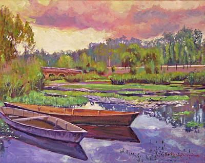 Impressionism Paintings - Boats Among The Lilies by David Lloyd Glover