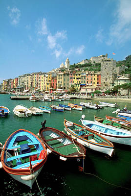 Recreational Boat Photograph - Boats At A Harbor, Portovenere, Italy by Medioimages/photodisc