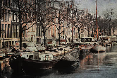 Photograph - Boats At Amsterdam Canal. Vintage by Jenny Rainbow