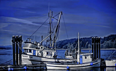 Digital Art - Boats At An Island Dock by Richard Farrington