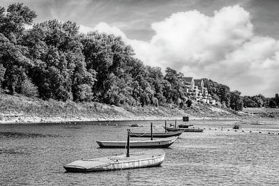 Photograph - Boats At The Ferry Crossing In Black And White by Debra and Dave Vanderlaan