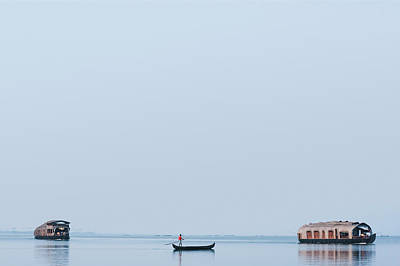 Kerala Photograph - Boats In A Lagoon, Kerala Backwaters by Exotica.im