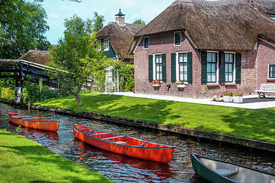 Photograph - Boats In A Row. Giethoorn. The Netherlands by Jenny Rainbow