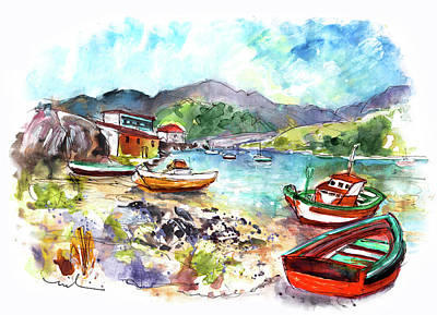 Painting - Boats In Ezaro In Galicia 03 by Miki De Goodaboom