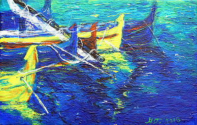 Painting - Boats in Summer. by Marianna MO Warr
