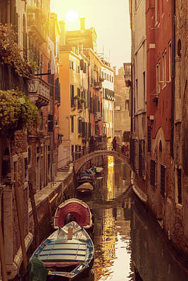 Digital Art - Boats in the canal in Venice, Italy by Tanel Murd