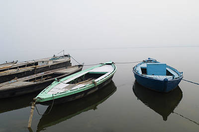 Photograph - Boats Moored In A River, Ganges River by Exotica.im