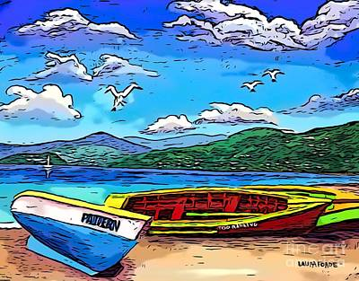 Digital Art - Boats On Grand Anse Beach by Laura Forde