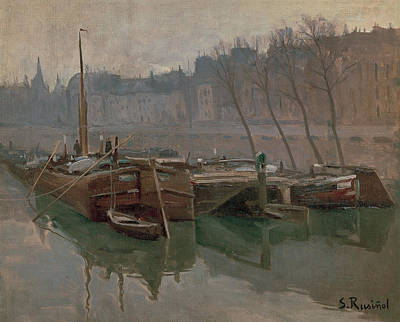 Painting - Boats On The Seine  by Santiago Rusinol