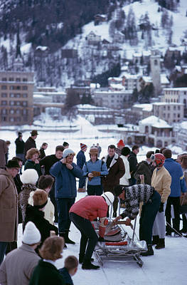 Bobsledding In St. Moritz Art Print by Slim Aarons
