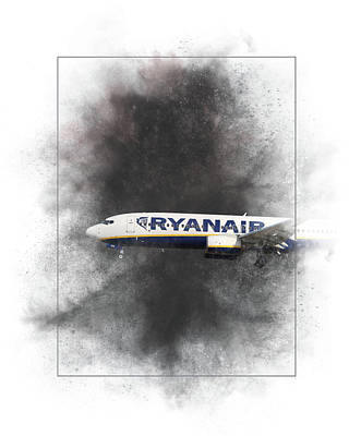 Mixed Media - Boeing 737 Ryanair Painting by Smart Aviation