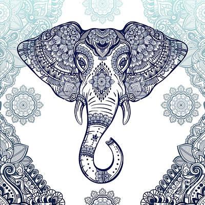 Digital Art - Bohemian Elephant Tribal Boho Lace by Sharon Mau